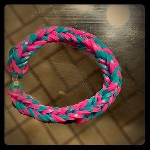 Pink and blue fishtail bracelet